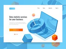 Data statistic and analysis, business concept of information report, planning and strategy icon, color gradient, laptop. With diagram isometric vector Royalty Free Stock Photos