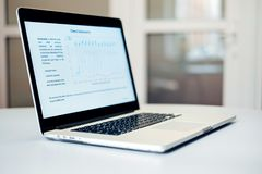 Data statistical analysis. View of a laptop with a statistical analysis graph Royalty Free Stock Photos