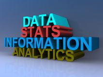 Data, stats, information and analytics text graphics. 3D block stacked letters in colors of data, stats, information and analytics against blue background Stock Photo