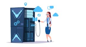 Data storage cloud center with hosting servers and staff. Computer technology, network and database, internet center. Communication support, flat design vector stock illustration