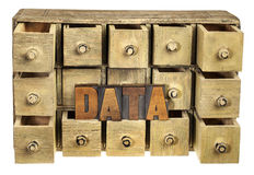 Data storage concept. Data word in vintage letterpress wood type and primitive rustic wooden apothecary or catalog drawer cabinet Royalty Free Stock Photography