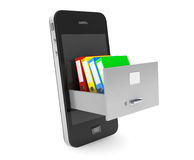 Data Storage Concept. Achive Office Binders in Cabinet inside Mo Royalty Free Stock Image