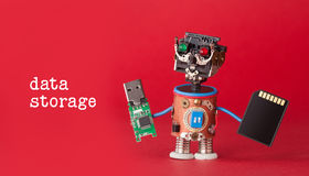 Data Storage Concept. Robot Toy With Usb Flash Stick And Memory Card On Red Background. Copy Space Macro View