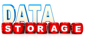 Data storage. Concept, words on white background Stock Images