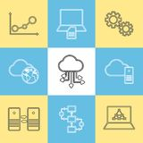 Data storage, data analysis and transfer icons Royalty Free Stock Photos