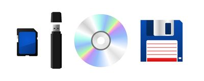 Data storage device. Memory card, USB flash drive, CD or DVD and floppy disk. Vector available Stock Images