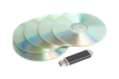 Data storage device. CD ROM and USB memory stick Stock Photos