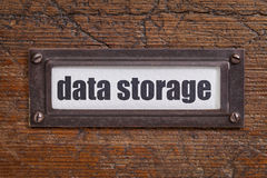 Data storage file cabinet  label Stock Photography