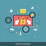 Data storage flat concept. Vector illustration. Royalty Free Stock Photo