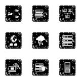 Data storage icons set, grunge style. Data storage icons set. Grunge illustration of 9 data storage vector icons for web Royalty Free Stock Images