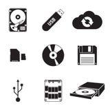 Data storage icons. Set of isolated black icons on a theme Data storage Royalty Free Stock Photos
