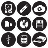 Data storage icons set vector illustration