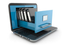 Data storage. Laptop and file cabinet with ring binders. 3d Royalty Free Stock Photos