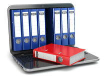 Data storage. Laptop  with file ring binders. Stock Photography