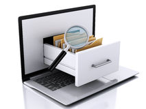 Data storage. Laptop and files 3d Stock Images