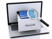 Data storage. Laptop and files 3d Stock Photography