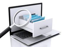 Data storage. Laptop and files 3d Stock Photos