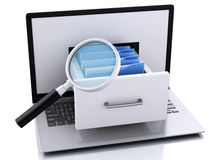 Data storage. Laptop and files 3d Royalty Free Stock Photo