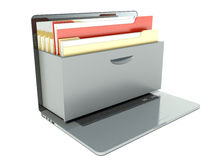 Data storage. Laptop and folder for papers Royalty Free Stock Photos