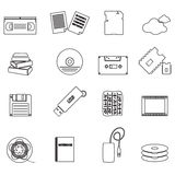 Data storage media black simple outline icons Royalty Free Stock Photography