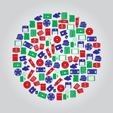 Data storage media icons in color circle Royalty Free Stock Images