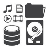 Data storage and media icons Royalty Free Stock Photography