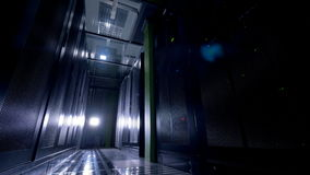 A data storage room with lights off.
