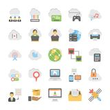 Pack Of Flat Design Cloud Computing Icons. Data Storage, Server and Transfer  icons for your personal files, entertainment, work, music, movies and more. Storage Royalty Free Stock Images