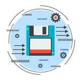Data storage and transmission vector concept. Data storage and transmission flat design style vector concept illustration Royalty Free Stock Photos