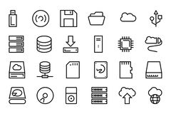 Data Storage Vector Line Icons 1 Stock Images