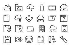 Data Storage Vector Line Icons 2 Royalty Free Stock Photo