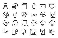 Data Storage Vector Line Icons 2 Stock Photo