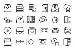 Data Storage Vector Line Icons 3 Royalty Free Stock Photo
