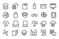 Data Storage Vector Line Icons 2 Stock Photo