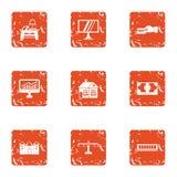 Data stream icons set, grunge style. Data stream icons set. Grunge set of 9 data stream vector icons for web isolated on white background Stock Images