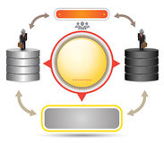 Data system diagram vector template with icon stock illustration