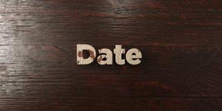 A data - título de madeira sujo no bordo - 3D rendeu a imagem conservada em estoque livre dos direitos Imagem de Stock