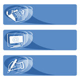 Data tags blue. Phone number, e-mail and post address tags Stock Photography
