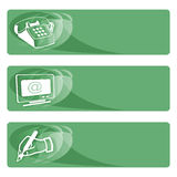 Data tags green. Phone number, e-mail and post address tags Stock Photo