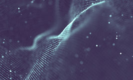 Data technology abstract futuristic illustration . Low poly shape with connecting dots and lines on dark background. 3D Royalty Free Stock Image