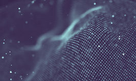 Data technology abstract futuristic illustration . Low poly shape with connecting dots and lines on dark background. 3D Royalty Free Stock Photos