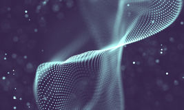 Data technology abstract futuristic illustration . Low poly shape with connecting dots and lines on dark background. 3D Royalty Free Stock Photo