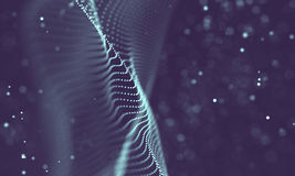 Data technology abstract futuristic illustration . Low poly shape with connecting dots and lines on dark background. 3D Royalty Free Stock Images