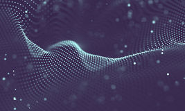 Data technology abstract futuristic illustration . Low poly shape with connecting dots and lines on dark background. 3D Stock Image