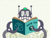 Data technology and machine learning concept. Robot reading a book with digital information in its eyes with cogs and electronic circuit on background Royalty Free Stock Image