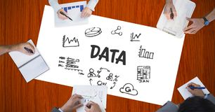 Data text by icons and hands of business people Royalty Free Stock Photos