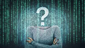 Data thief. Surreal image as a woman online anonymous internet hacker with invisible face stand with crossed hands and question mark instead head, hiding royalty free stock image