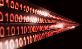 Data transfer. Hi-speed binary code transfer with light streaks Royalty Free Stock Images