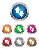 Data transfer buttons. Collection of data transfer buttons in various colors Stock Images