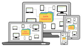 Data transfer concept on different devices. On white Royalty Free Stock Image